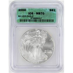 2004 $1 American Silver Eagle Coin ICG MS70