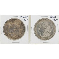 Lot of 1890-S & 1891-S $1 Morgan Silver Dollar Coins