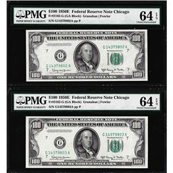 (2) Consecutive 1950E $100 Federal Reserve Notes Chicago PMG Choice Uncirculated 64EPQ