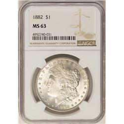 1882 $1 Morgan Silver Dollar Coin NGC MS63