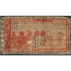 March 25, 1776 Six Pounds Colonial Currency Note