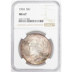 1924 $1 Peace Silver Dollar Coin NGC MS67