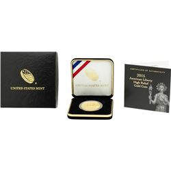 2015 $100 American Liberty High Relief Gold Coin w/ Box & COA