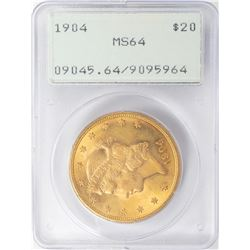 1904 $20 Liberty Head Double Eagle Gold Coin PCGS MS64 Old Green Rattler