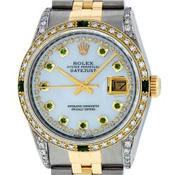 Rolex Mens Two Tone 14K Lugs MOP Emerlads & Diamond 36MM Datejust