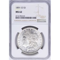 1891-O $1 Morgan Silver Dollar Coin NGC MS62