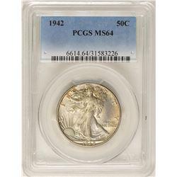 1942 Walking Liberty Half Dollar Coin PCGS MS64