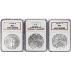 Lot of 2005-2007 $1 American Silver Eagle Coins NGC MS69