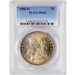 1886-O $1 Morgan Silver Dollar Coin PCGS MS63 Nice Toning