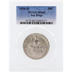 1936-D San Diego Commemorative Half Dollar Coin PCGS MS66