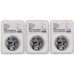 Lot of (3) 2018 Niue $2 Star Wars Stormtrooper Silver Coins NGC MS69 Early Releases