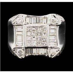 18K White Gold  Men's 3.80 ctw Princess & Baguette Diamond Ring