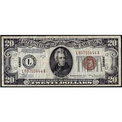1934A $20 Hawaii WWII Emergency Issue Federal Reserve Notes