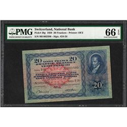 1938 Switzerland 20 Franken National Bank Note Pick #39g PMG Gem Uncirculated 66EPQ