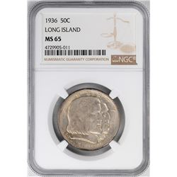 1936 Long Island Tercentenary Commemorative Half Dollar Coin NGC MS65
