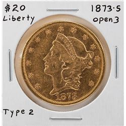 1873-S Open 3 $20 Liberty Head Double Eagle Gold Coin