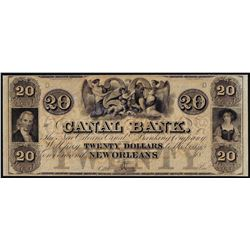 1800's $20 Canal Bank New Orleans, LA Obsolete Note