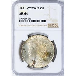 1921 $1 Morgan Silver Dollar Coin NGC MS64