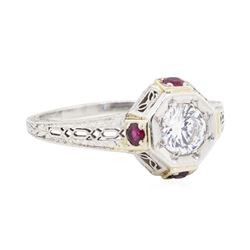 Platinum 0.50 ctw Diamond and Ruby Ring