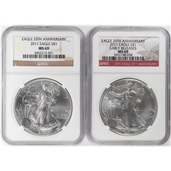 Lot of (2) 2011 $1 American Silver Eagle Coins NGC MS69