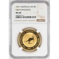 1991 $100 Australia Grey Kangaroo Gold Coin NGC MS68