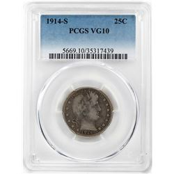 1914-S Barber Quarter Coin PCGS VG10