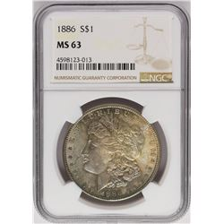 1886 $1 Morgan Silver Dollar Coin NGC MS63 Nice Toning