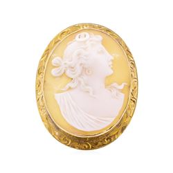 10KT Yellow Gold Cameo Pin