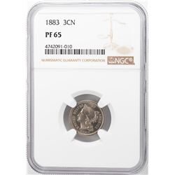 1883 Proof Three Cent Nickel Coin NGC PF65
