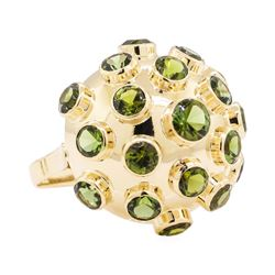 18KT Yellow Gold 5.00 ctw Green Tourmaline Dome Ring