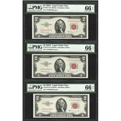 Lot of (3) Consecutive 1953C $2 Legal Tender Notes Fr.1512 PMG Gem Uncirculated 66EPQ