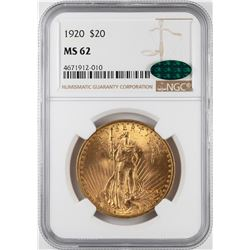1920 $20 St. Gaudens Double Eagle Gold Coin NGC MS62 CAC
