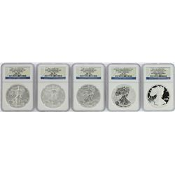 25th Anniversary Set of 2011 $1 American Silver Eagle Coins NGC Graded MS70/PF70