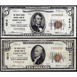 Set of 1929 $5/$10 United States NB Portland, OR CH# 4514 National Currency Notes