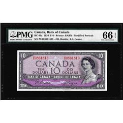 1954 $10 Bank of Canada Note BC-40a PMG Gem Uncirculated 66EPQ