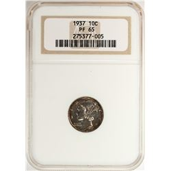 1937 Proof Mercury Dime Coin NGC PF65
