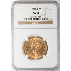 1882 $10 Liberty Head Eagle Gold Coin NGC MS61