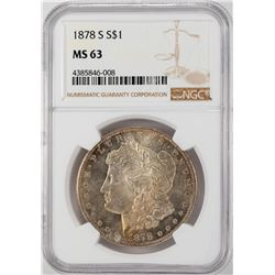 1878-S $1 Morgan Silver Dollar Coin NGC MS63 Nice Toning