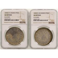 Lot of (2) 1898 Mexico Pesos Silver Coins NGC Graded AU Details