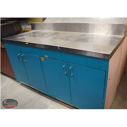 R156) STAINLESS STEEL TOP STORAGE CABINET