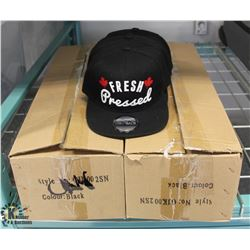 2.5 BOXES OF FRESH PRESSED BLACK HATS