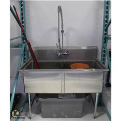 STAINLESS STEEL 2 COMPARTMENT SINK W/ PRE RINSE