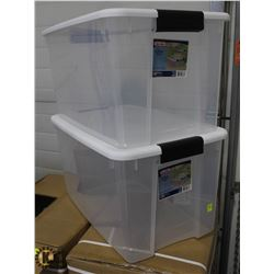 LOT OF TWO - 66 LITER PLASTIC STORAGE TOTES