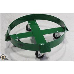 ULINE GREEN 30 GALLON STEEL DRUM DOLLY