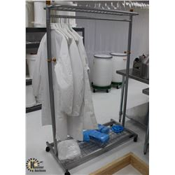 MOBILE CLOTHING RACK W/ SHOE COVERS & LAB COATS