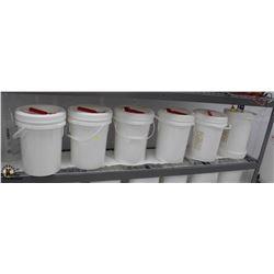 SIX WHITE 5 GALLON PAILS W/ MISC. PLASTIC & GLASS
