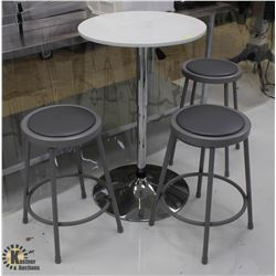 WHITE ADJUSTABLE TABLE W/ 3 GREY STOOLS