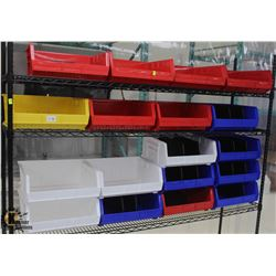 LOT OF 18 MIXED COLOR PLASTIC STACKING STORAGE