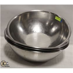 """LOT OF 4 LARGE 18"""" STAINLESS STEEL BOWLS"""