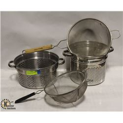LOT OF 2 STAINLESS STEEL STRAINER POTS AND 2